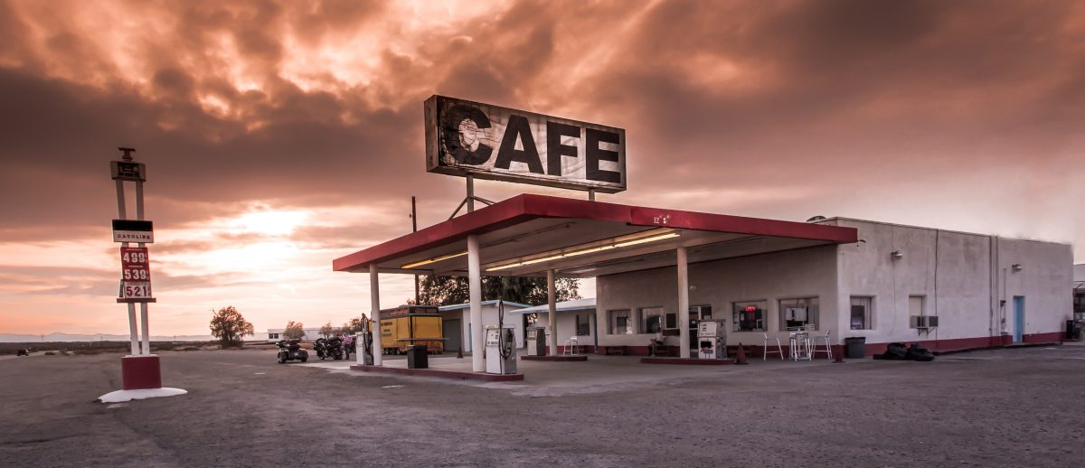 Cafe and gas station adjacent to Route 66 in California.